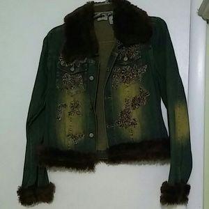 Fur trimmed jean jacket